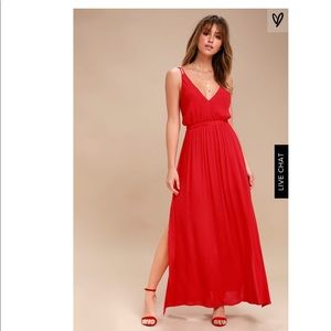Lost in Paradise Red Maxi Dress (Lulus)